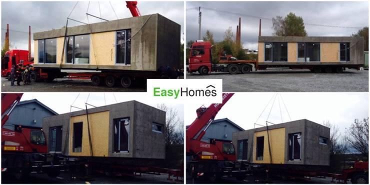 Přeprava dvou modulů dřevostavby na pozemek zákazníka